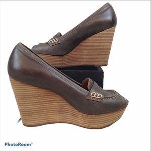 Lucky Brand peep toe penny loafer platforms
